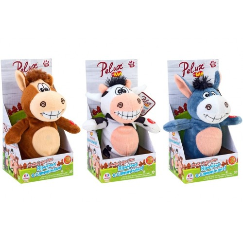 Animale peluche   19cm ripete cammina 3ass